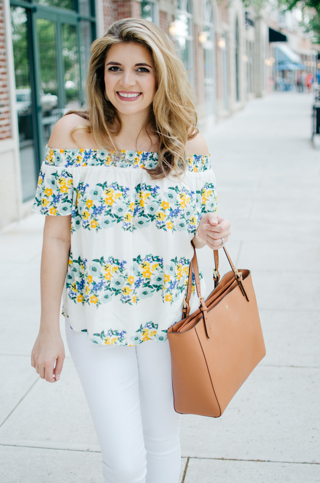 ba0cf7f514f floral print off shoulder top white jeans. Published May 21, 2017 at 1060 ×  1600 in All White Spring Outfit.