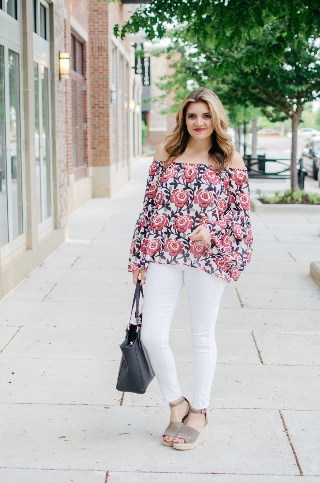 cute spring outfit - floral print off shoulder top | For more of the best Spring outfits, head to bylaurenm.com!