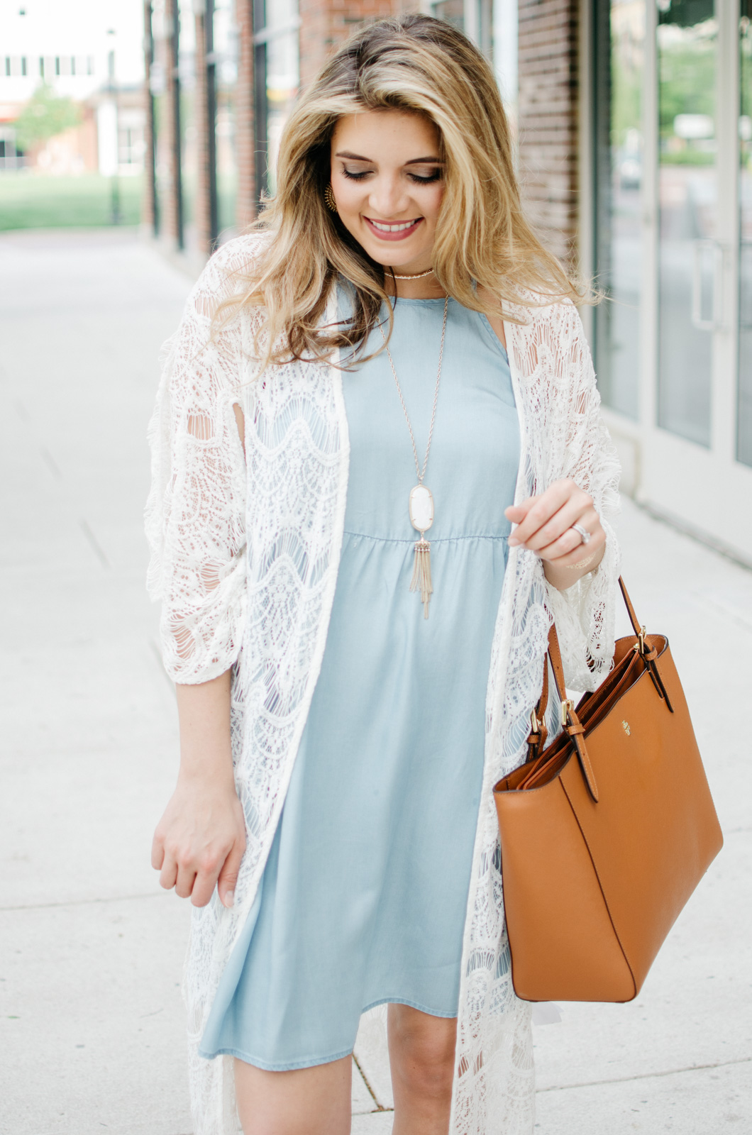 chambray dress with a long lace kimono - boho outfit | For more cute Spring outfits, head to bylaurenm.com