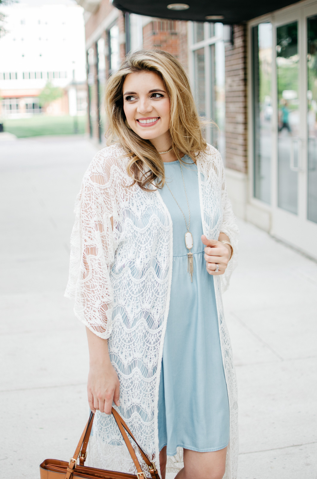 long lace kimono with chambray dress - spring boho outfit | For more cute Spring outfits, head to bylaurenm.com