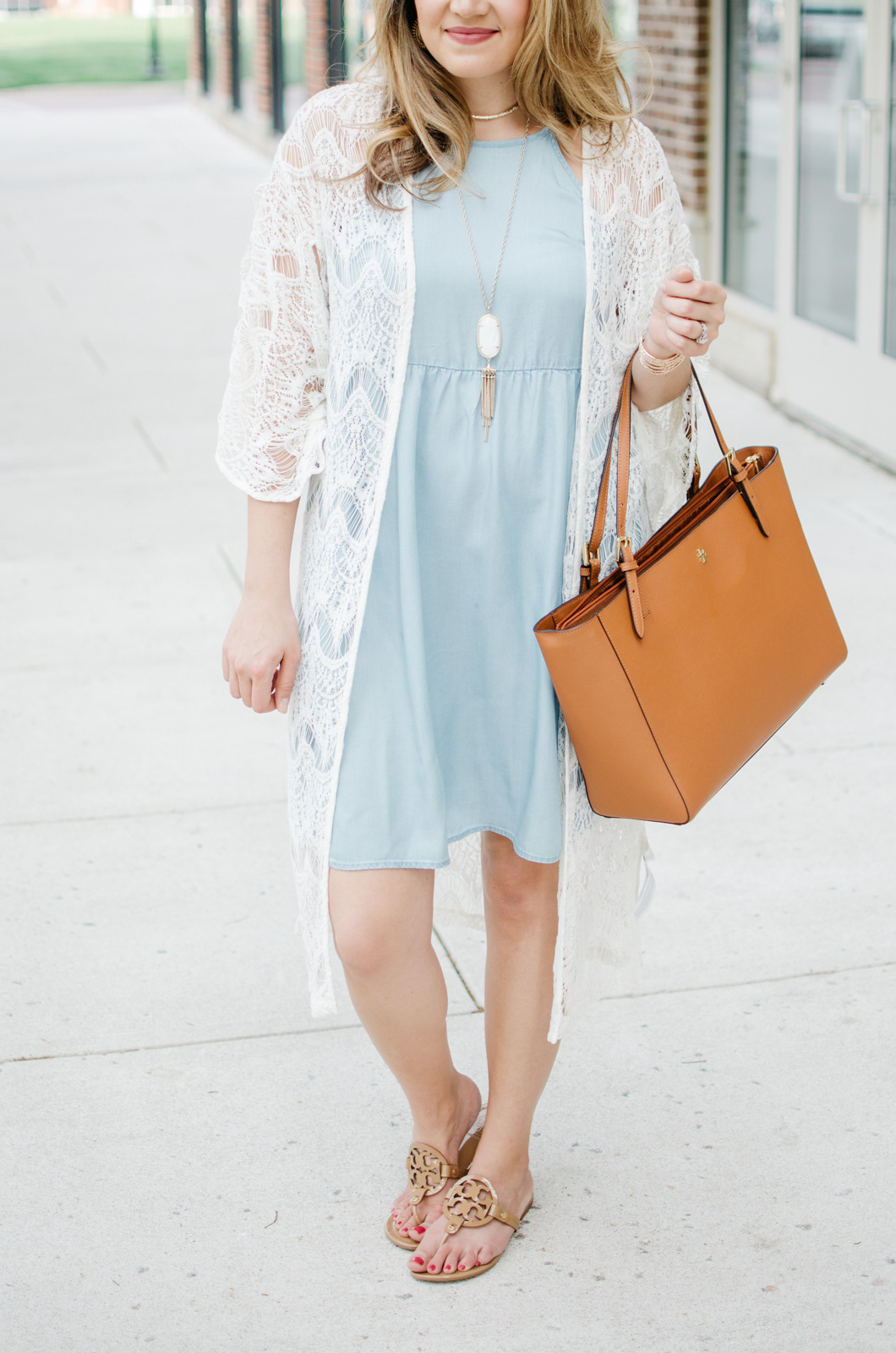 boho outfit summer - chambray dress with long lace kimono | For more cute Spring outfits, head to bylaurenm.com