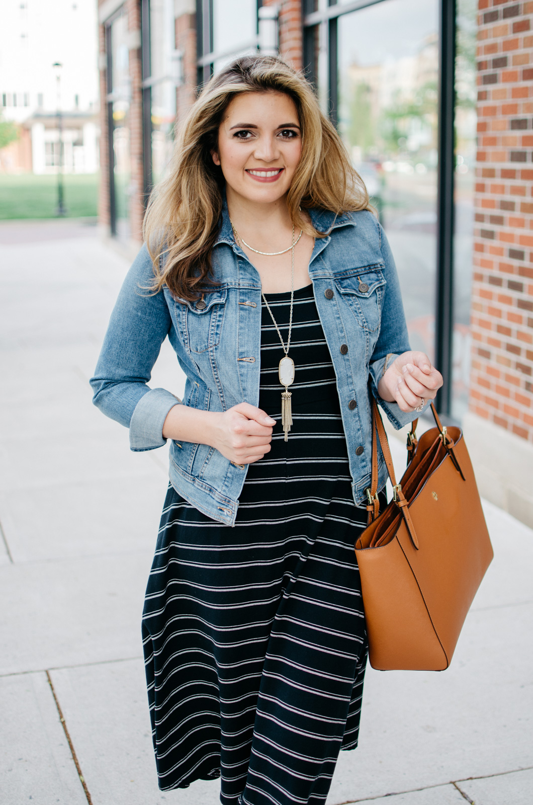 casual spring outfit - stripe midi dress - dress with a denim jacket | For more Spring outfit ideas, head to bylaurenm.com!