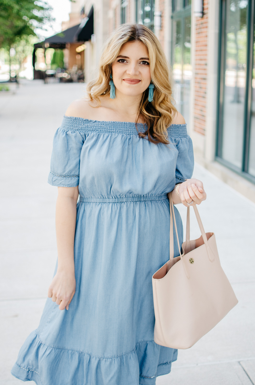 cute summer outfit - chambray off shoulder dress | bylaurenm.com