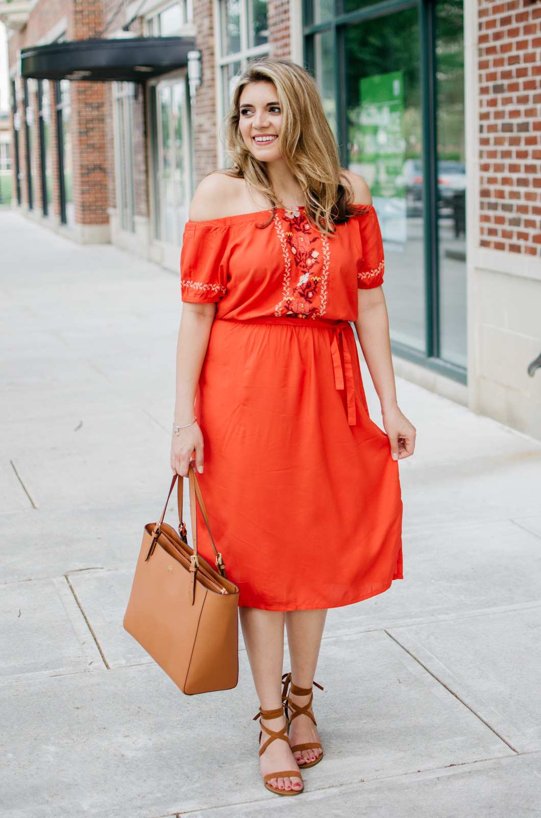 spring outfit ideas - off shoulder embroidered dress | bylaurenm.com