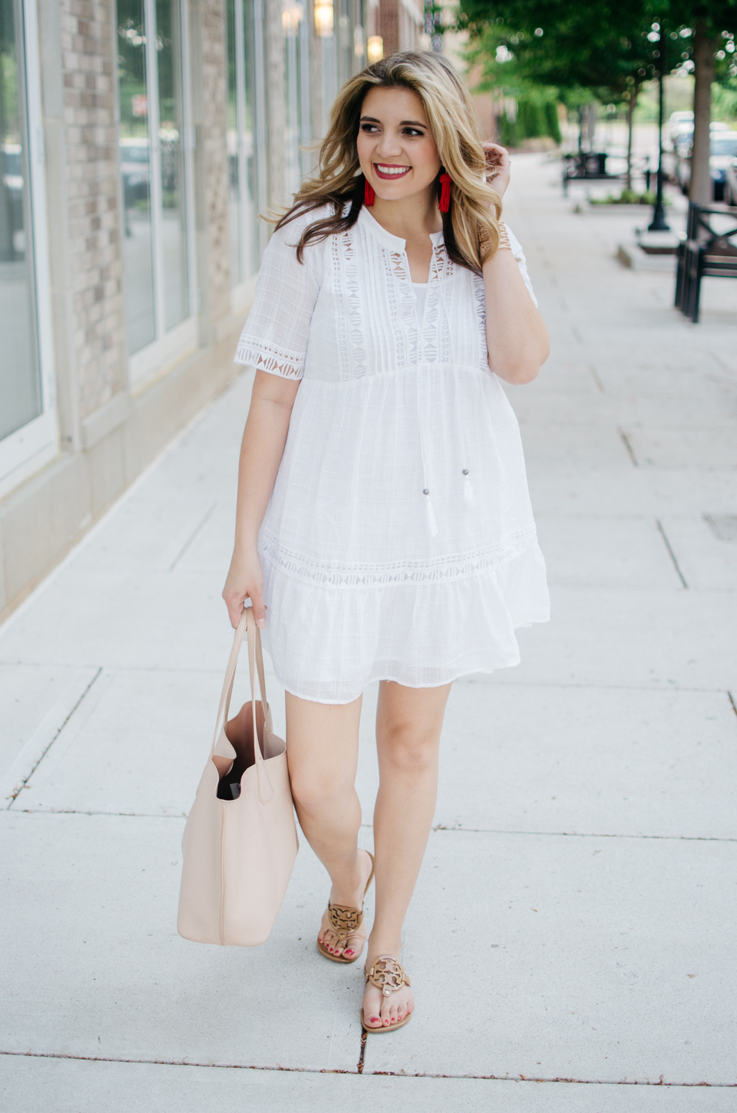 spring to summer outfit - the perfect white summer dress | For more cute weekend outfits, head to bylaurenm.com!