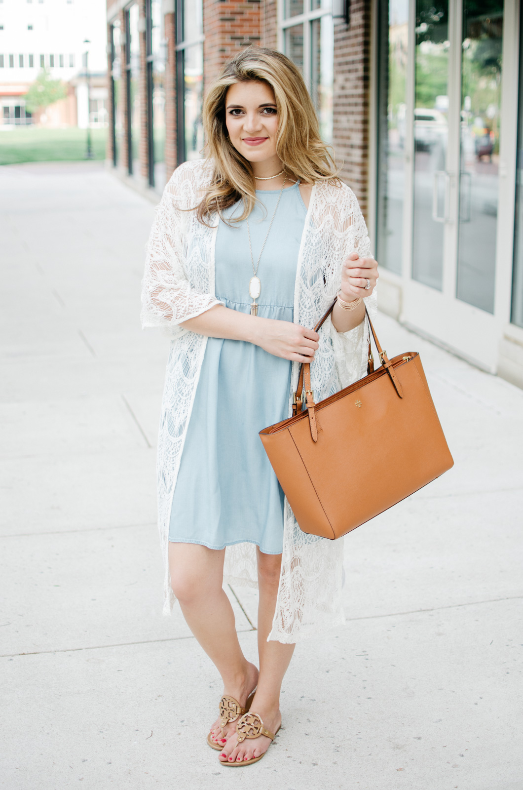 spring boho outfit - chambray dress with a long lace kimono | For more cute Spring outfits, head to bylaurenm.com