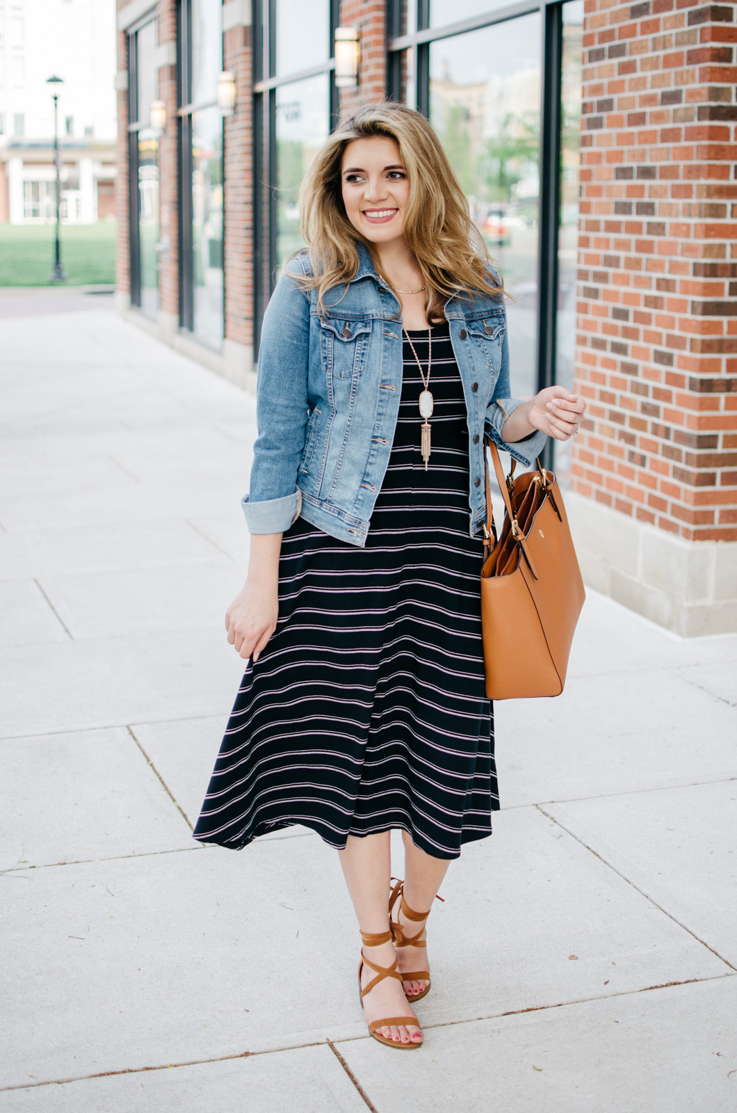 spring style - fashionable spring outfits - stripe midi dress and denim jacket | For more Spring outfit ideas, head to bylaurenm.com!