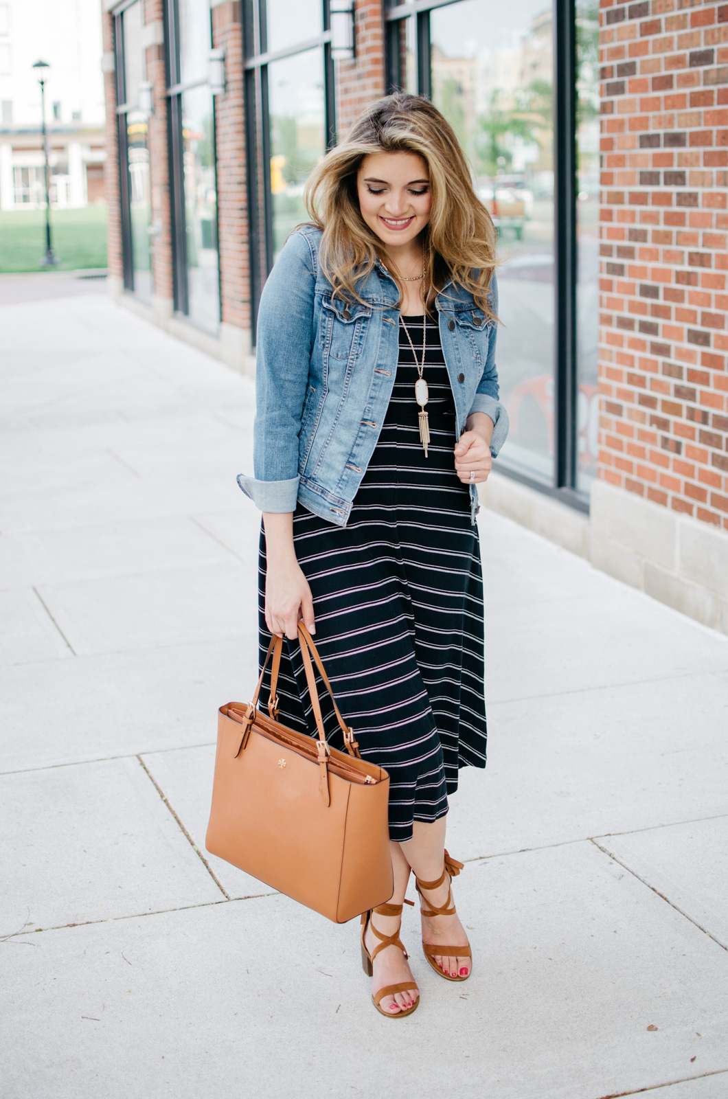 spring casual outfit - tshirt dress outfit - striped midi dress | For more Spring outfit ideas, head to bylaurenm.com!