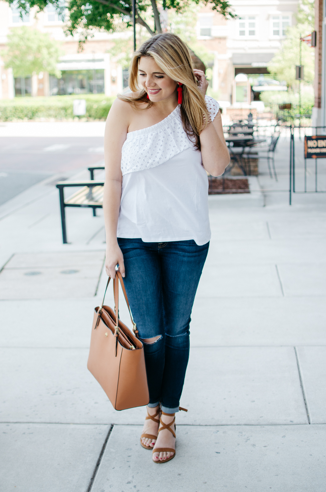 first trimester style - one shoulder top | For more maternity outfits, head to bylaurenm.com!