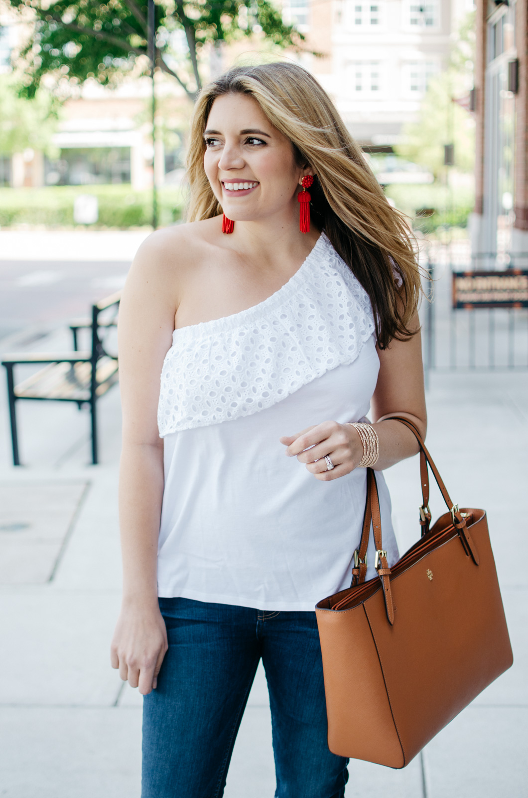 first trimester style - one shoulder tee for spring | For more maternity outfits, head to bylaurenm.com!