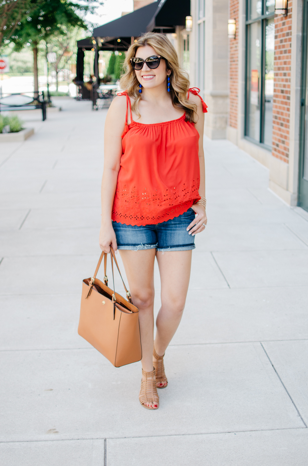 second trimester outfit for summer - tassel tank | For more cute maternity outfits, head to bylaurenm.com!