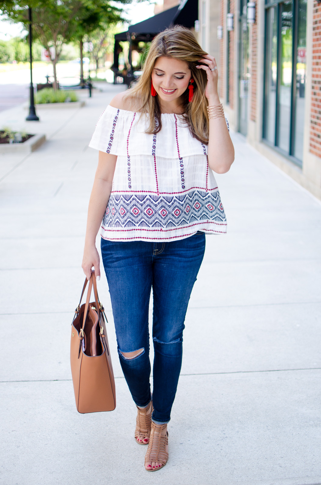 red, white, and blue outfit ideas - off shoulder top outfit | For more Summer outfit ideas, head to bylaurenm.com!