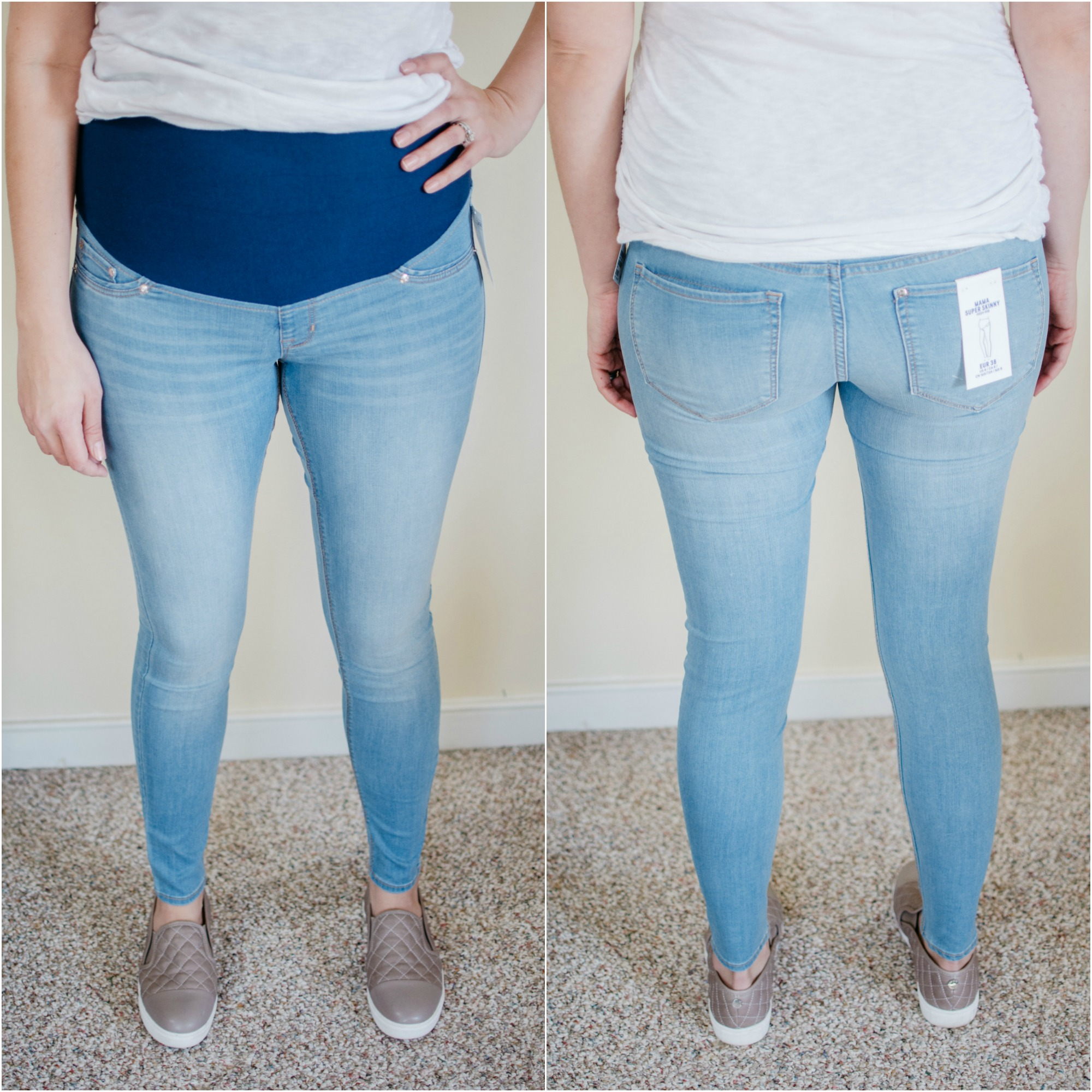 H&M Mama Super Skinny Jeans Review - H&M Maternity Jeans | See reviews of over 15 maternity jeans brands by clicking through to this post! | bylaurenm.com