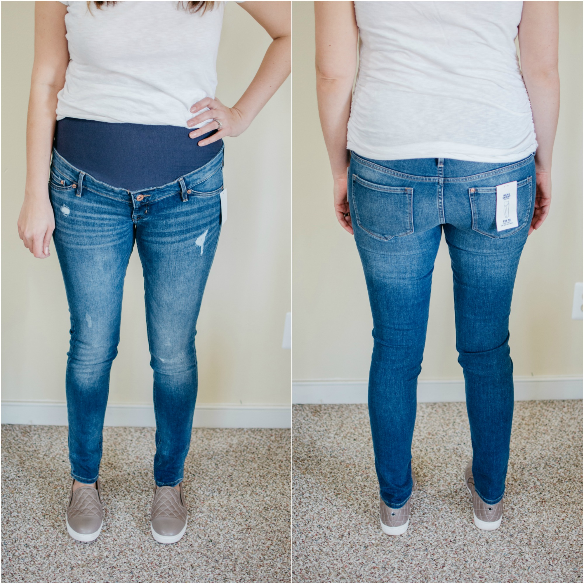 H&M mama skinny jeans maternity skinny jeans review | See reviews of over 15 maternity jeans brands by clicking through to this post! | bylaurenm.com