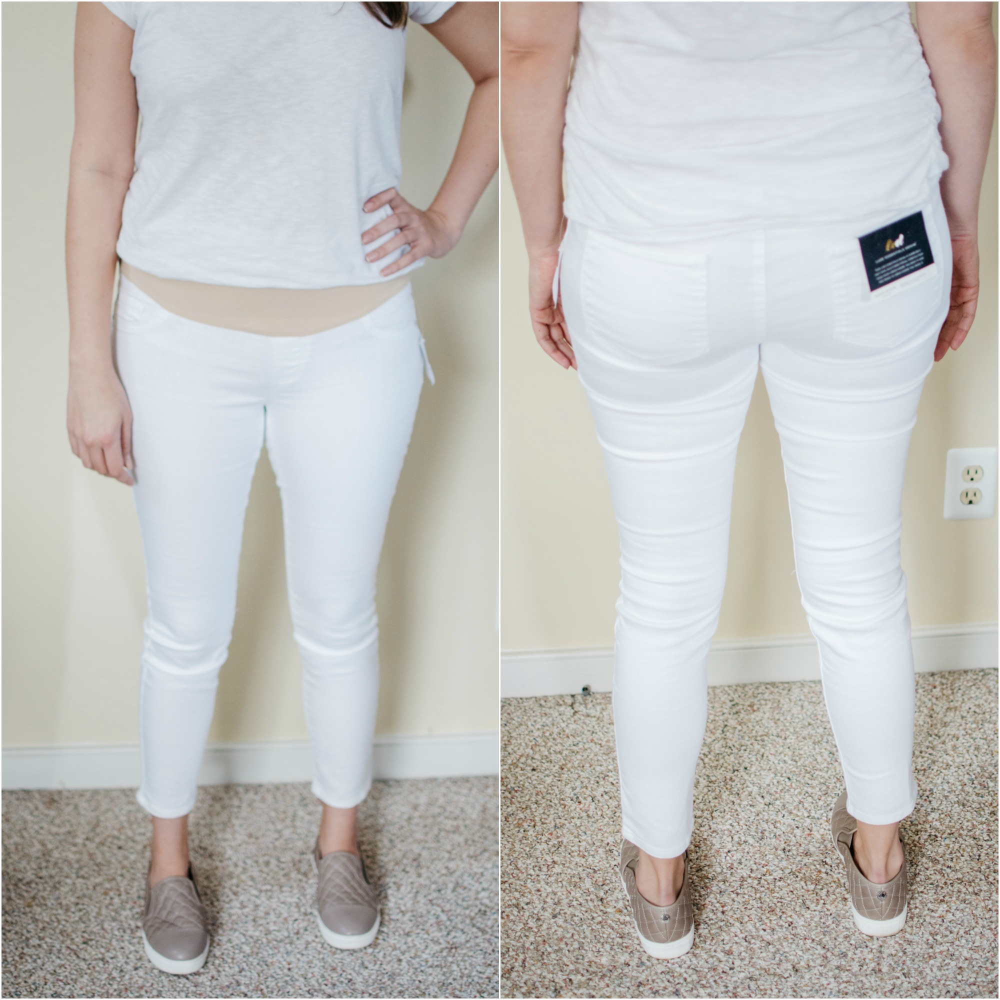 Luxe Essentials maternity jeans A Pea in the Pod - designer maternity jeans review | See reviews of over 15 maternity jeans brands by clicking through to this post! | bylaurenm.com