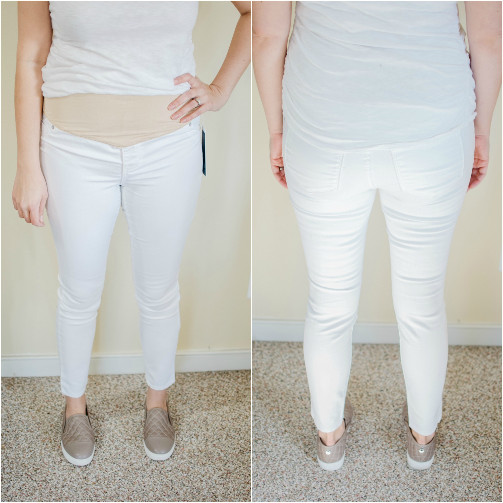 Old Navy Maternity Jeans reviews - best white maternity jeans | See reviews of over 15 maternity jeans brands by clicking through to this post! | bylaurenm.com