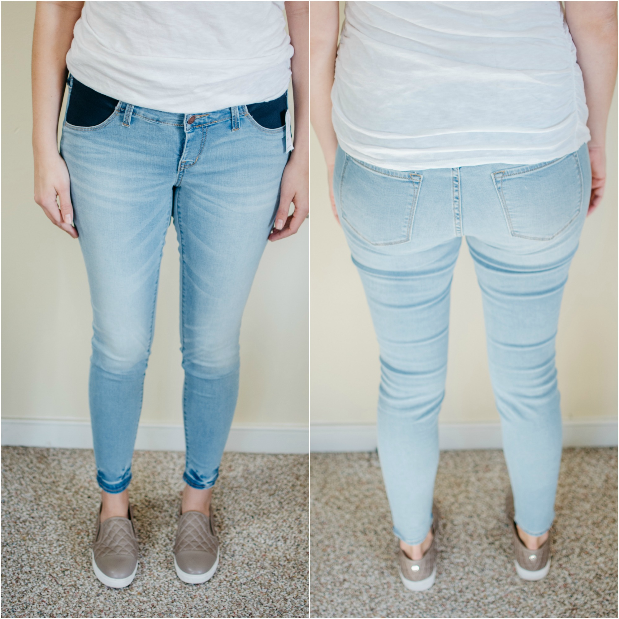 Old Navy Rockstar Maternity Jeans Review | See reviews of over 15 maternity jeans brands by clicking through to this post! | bylaurenm.com