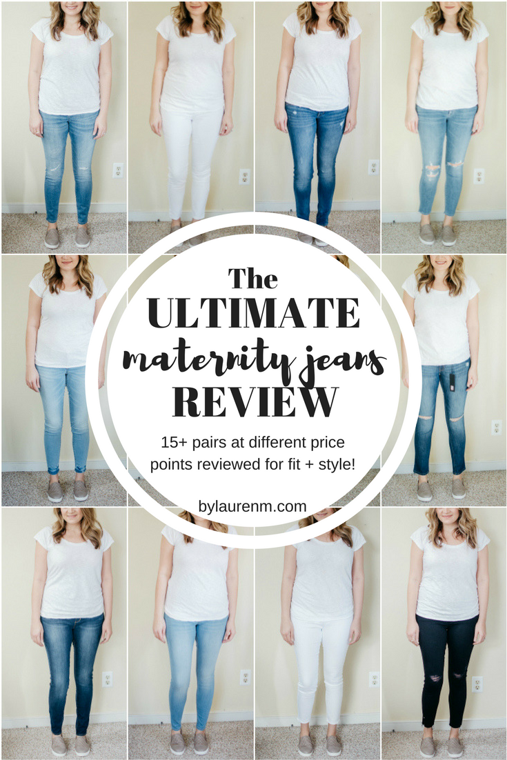 the ultimate maternity jeans review: over 15 pairs of maternity jeans reviewed! Get the fit, comfort, and sizing details for all the pairs at bylaurenm.com!