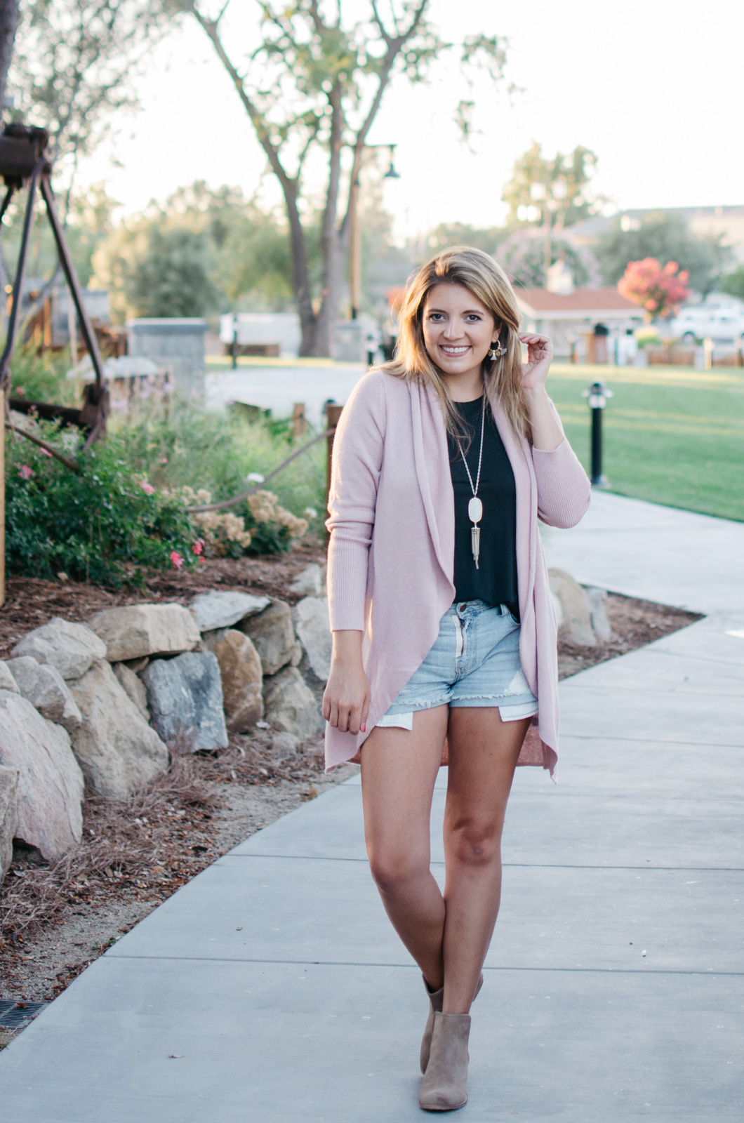 how to wear a cardigan for summer - summer to fall transitional outfit idea | bylaurenm.com