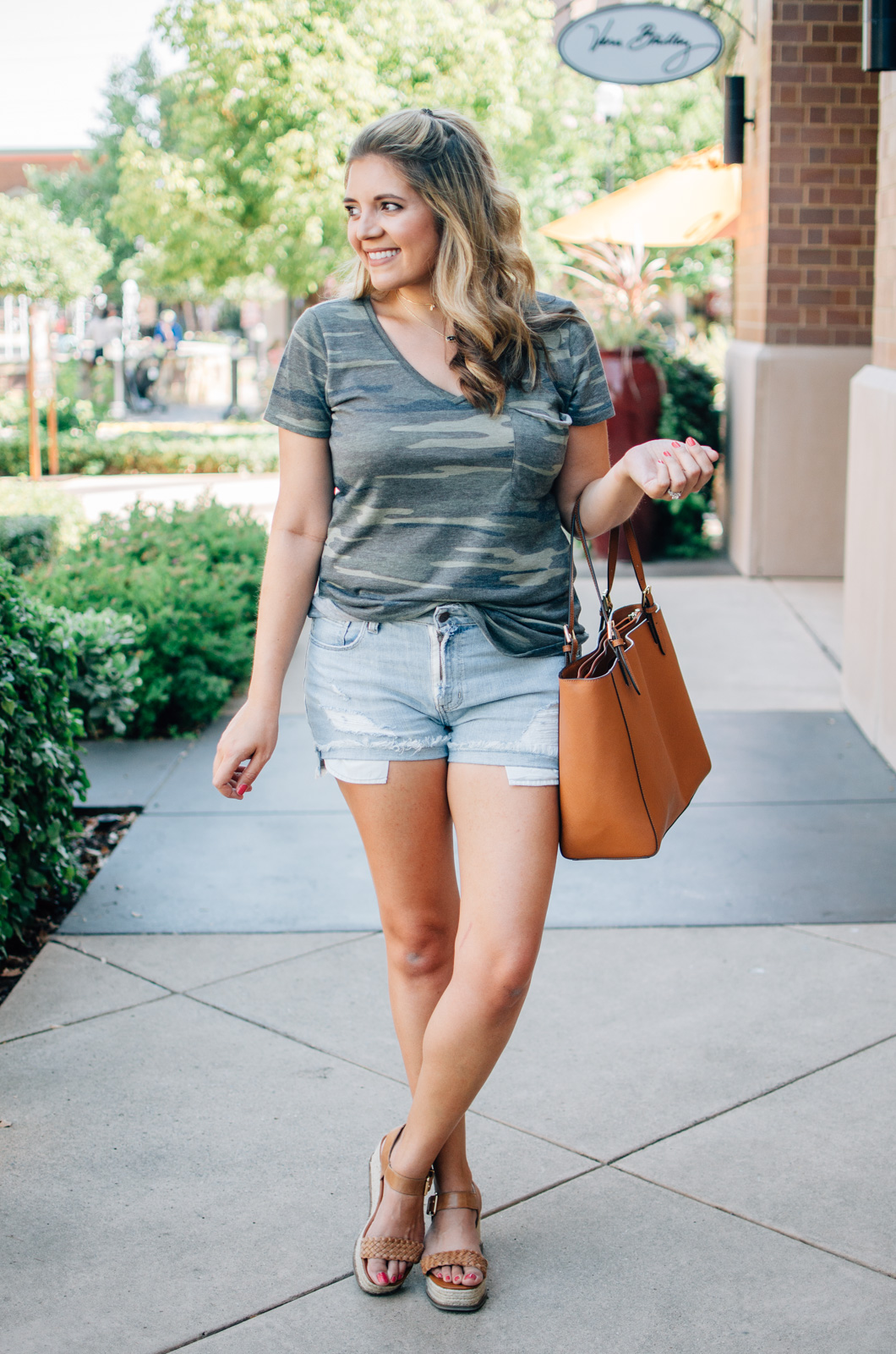 camo tee outfit for summer - camo tee and cutoff shorts | For more summer style ideas, head to bylaurenm.com!
