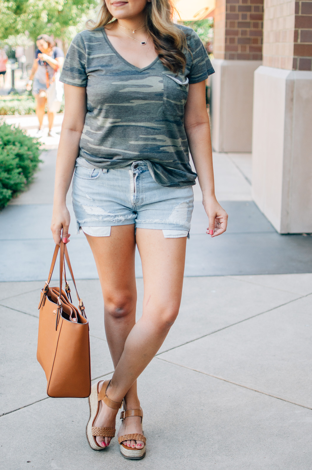 cute summer outfit - denim cutoffs outfit | For more summer style ideas, head to bylaurenm.com!