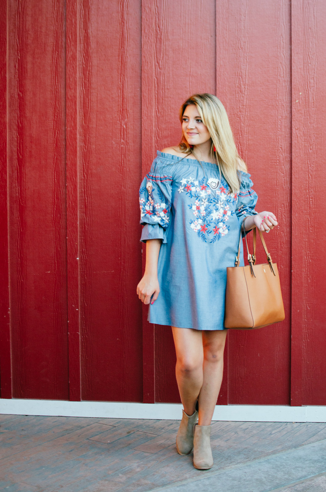 dress with booties outfit - early fall outfit embroidered chambray dress | For more cute casual outfit ideas, head to bylaurenm.com!