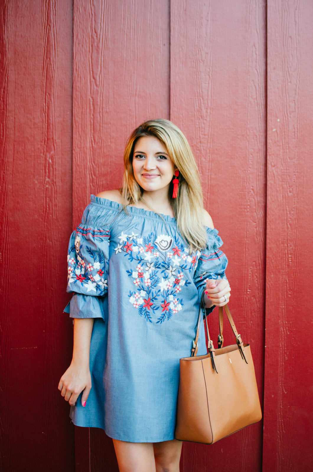 booties with a dress outfit - embroidered chambray dress | For more cute casual outfit ideas, head to bylaurenm.com!