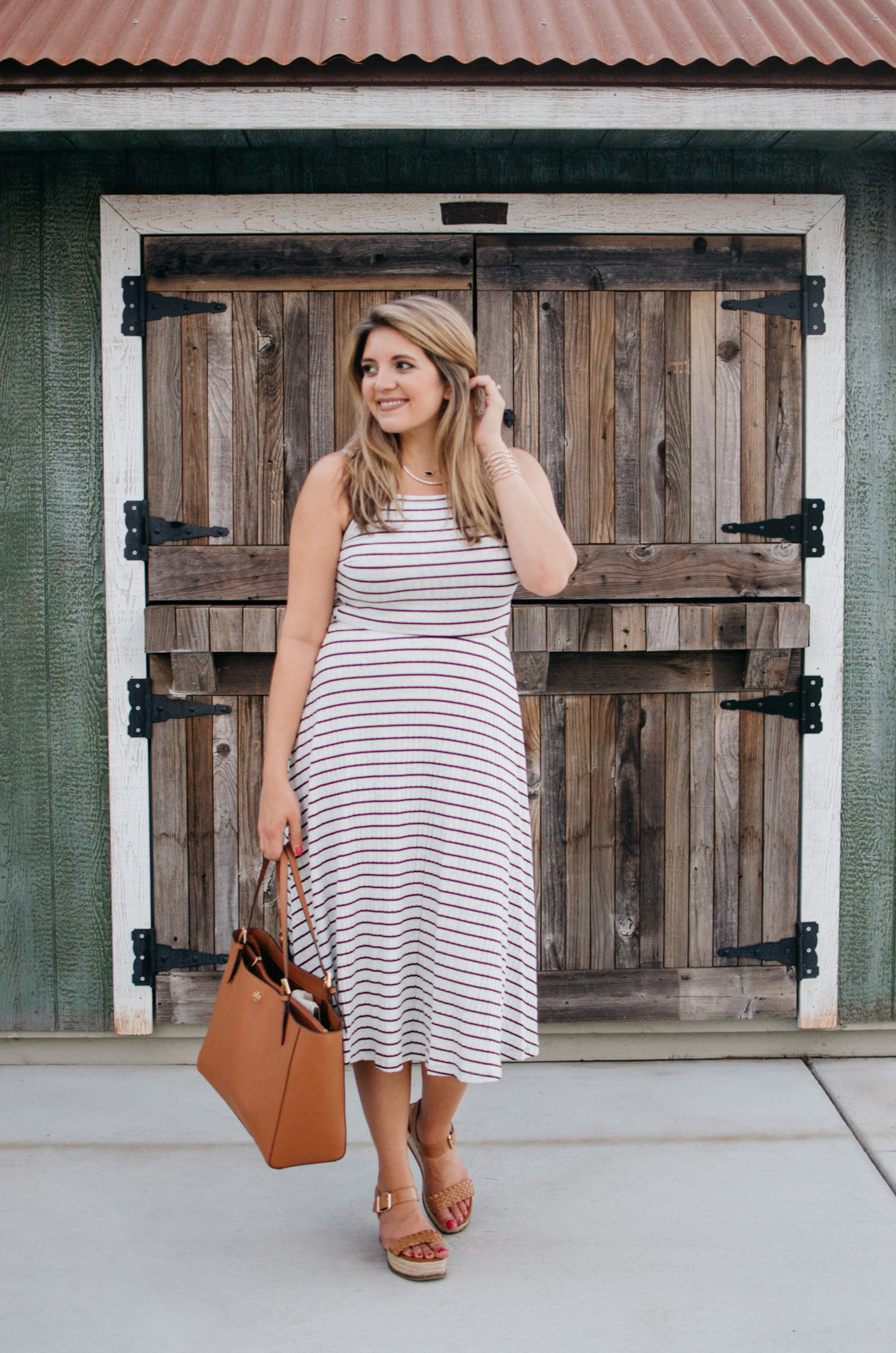 stripe midi dress outfit + Nordstrom Anniversary Sale picks for Summer| A round-up of all the Nordstrom Anniversary Sale items you can wear now! | bylaurenm.com