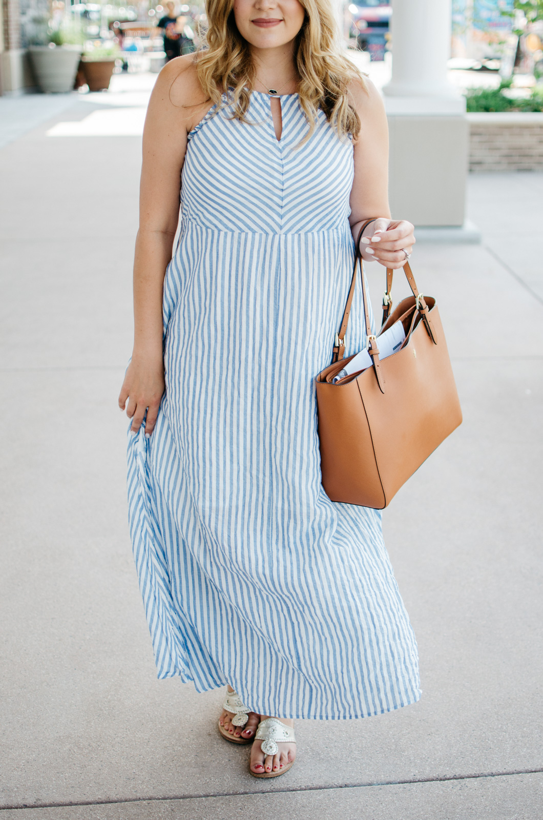 summer maxi dress outfit - seersucker maxi dress | For more cute Summer outfit ideas, go to bylaurenm.com!