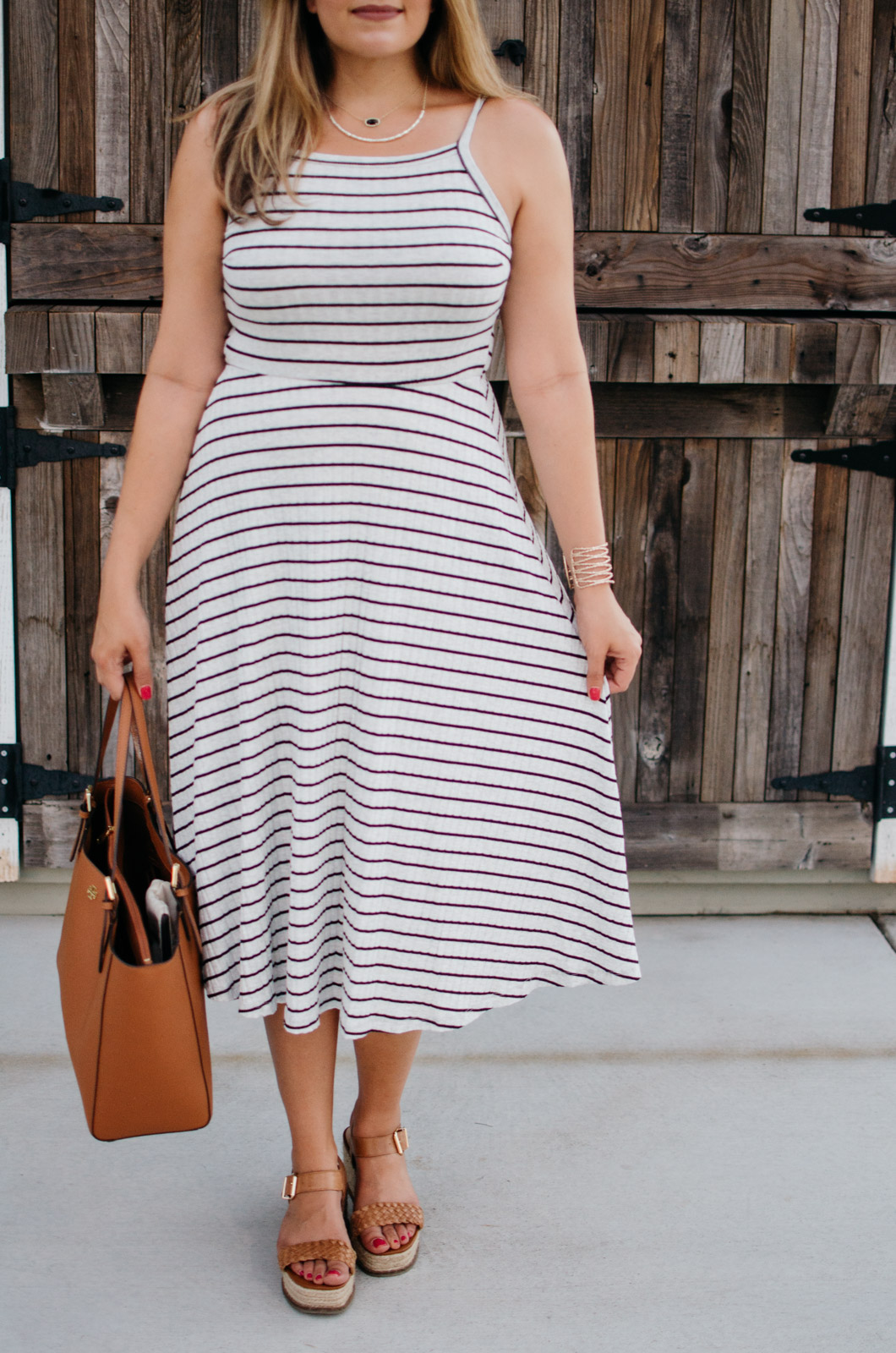 summer stripe midi dress outfit + nordstrom anniversary sale picks for summer | A round-up of all the Nordstrom Anniversary Sale items you can wear now! | bylaurenm.com