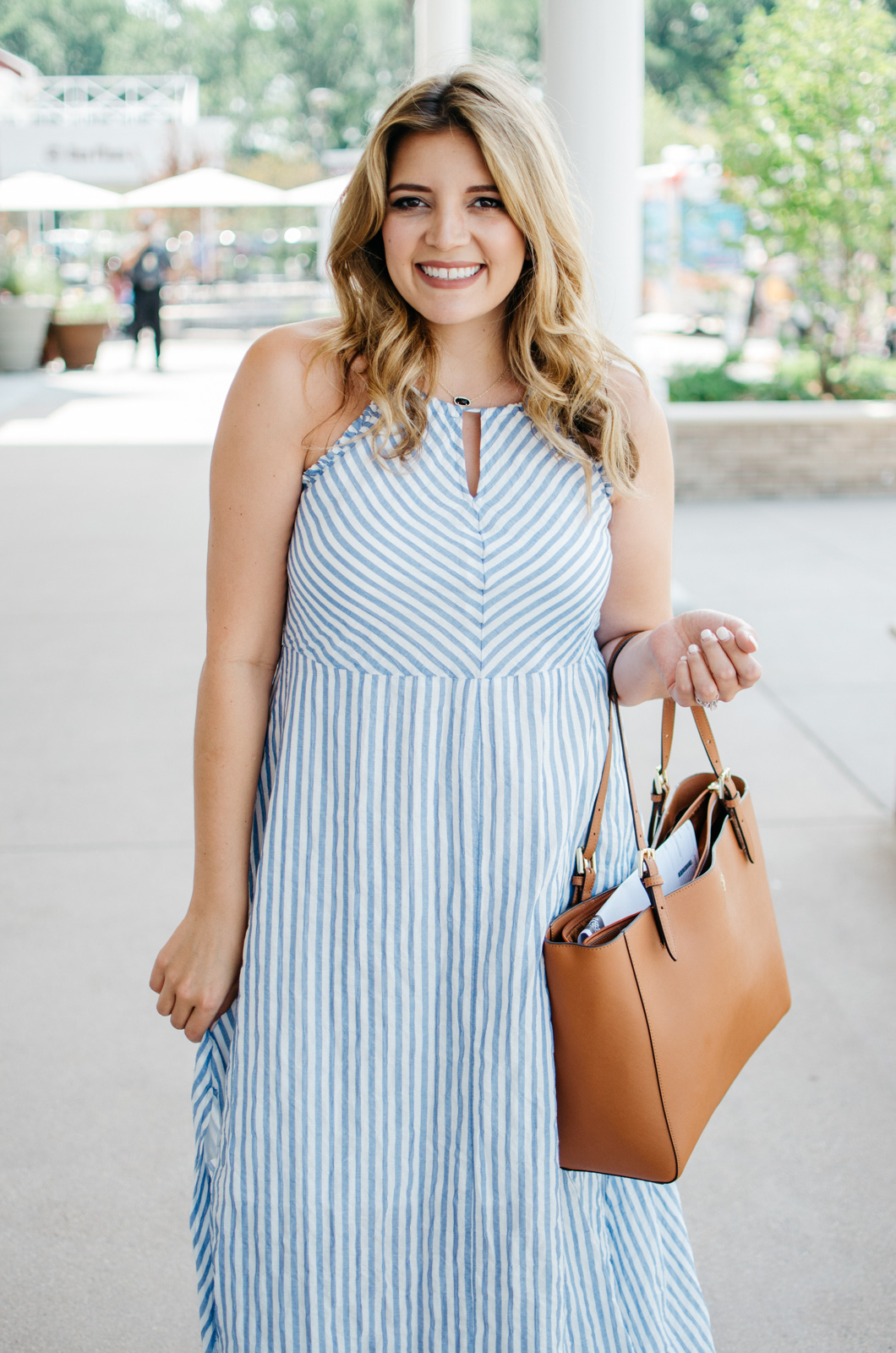 seersucker stripe maxi dress - preppy summer outfit | For more cute Summer outfit ideas, go to bylaurenm.com!
