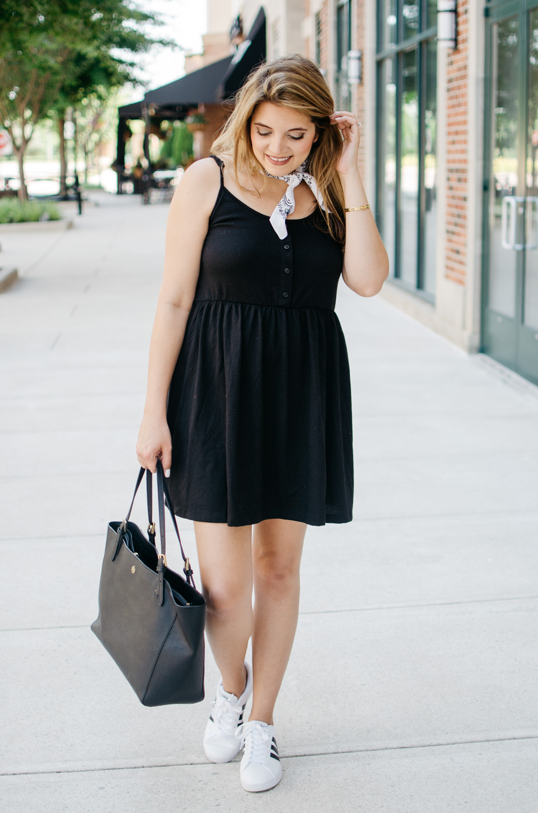 sundress with a neck scarf - black sundress with bandana scarf | For more cute Summer outfits, head to bylaurenm.com!