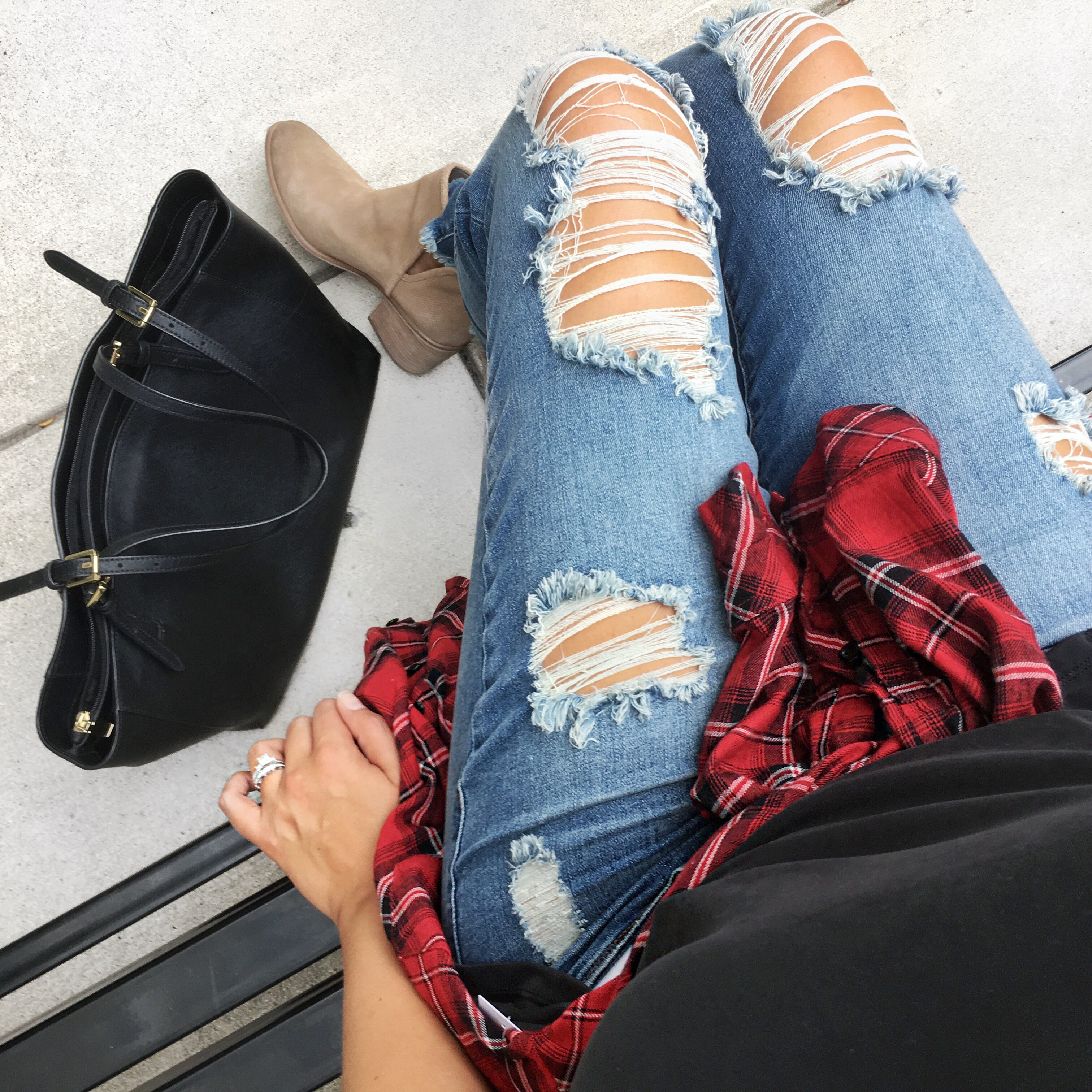 top instagram outfits of july - distressed jeans and plaid | bylaurenm.com
