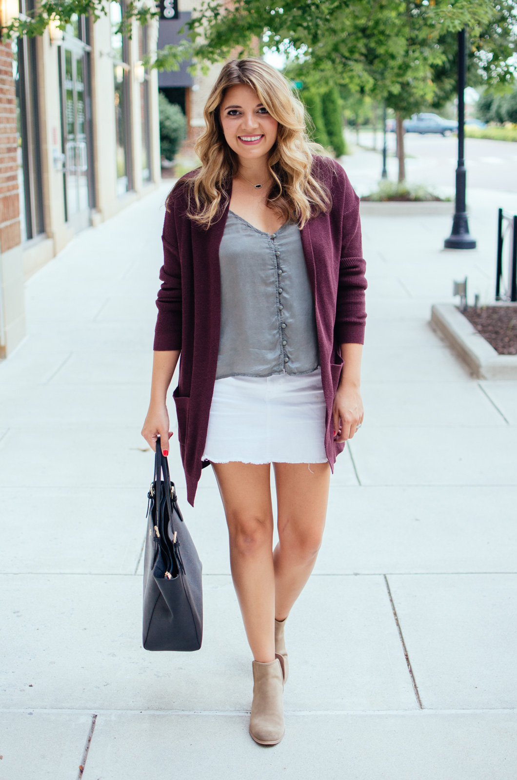 early Fall outfit - long cardigan and a mini skirt | For more warm weather Fall outfits, see bylaurenm.com!