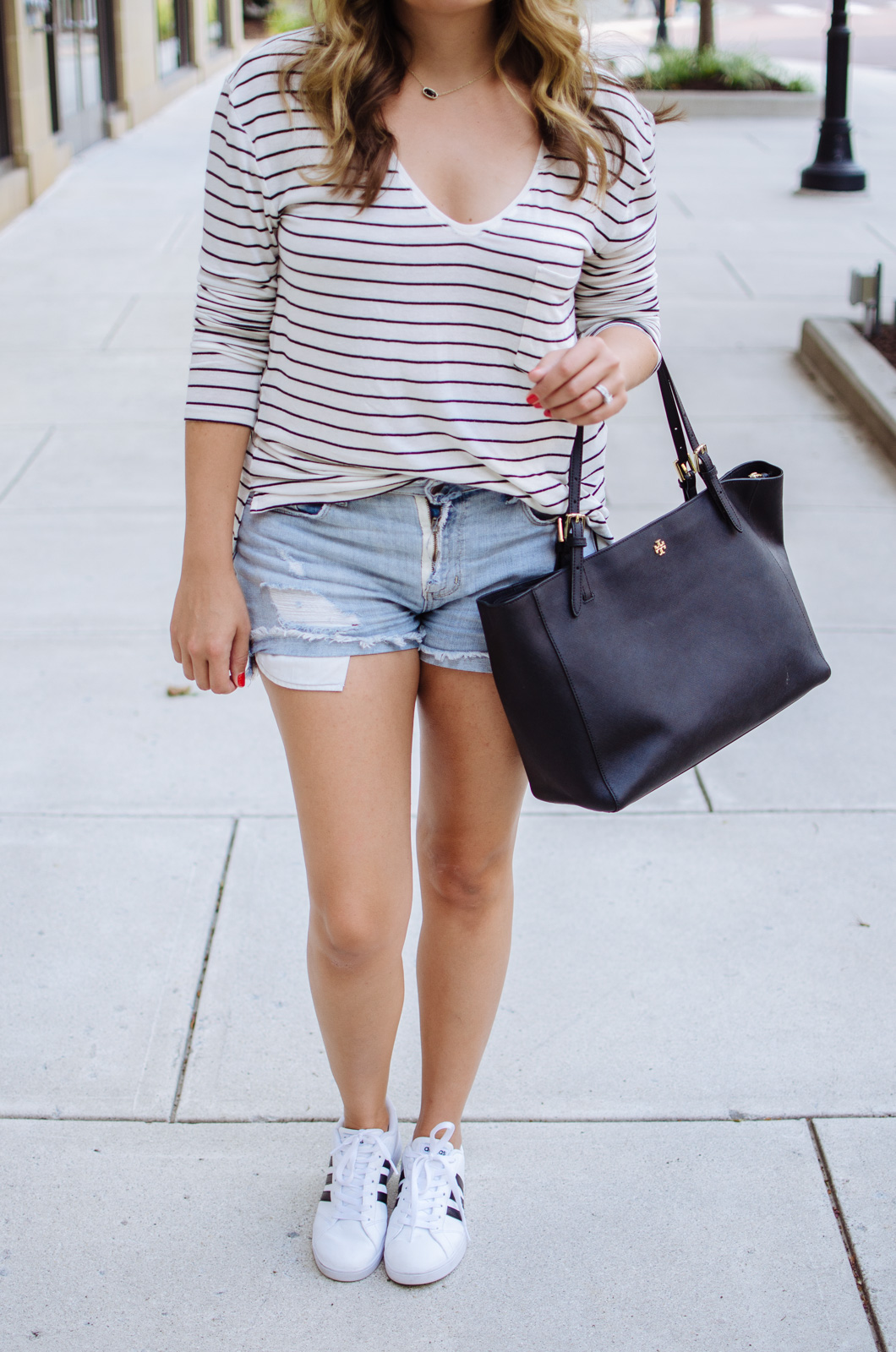 mom style - stripe tee and adidas sneakers | For more mother daughter outfits, head to bylaurenm.com!