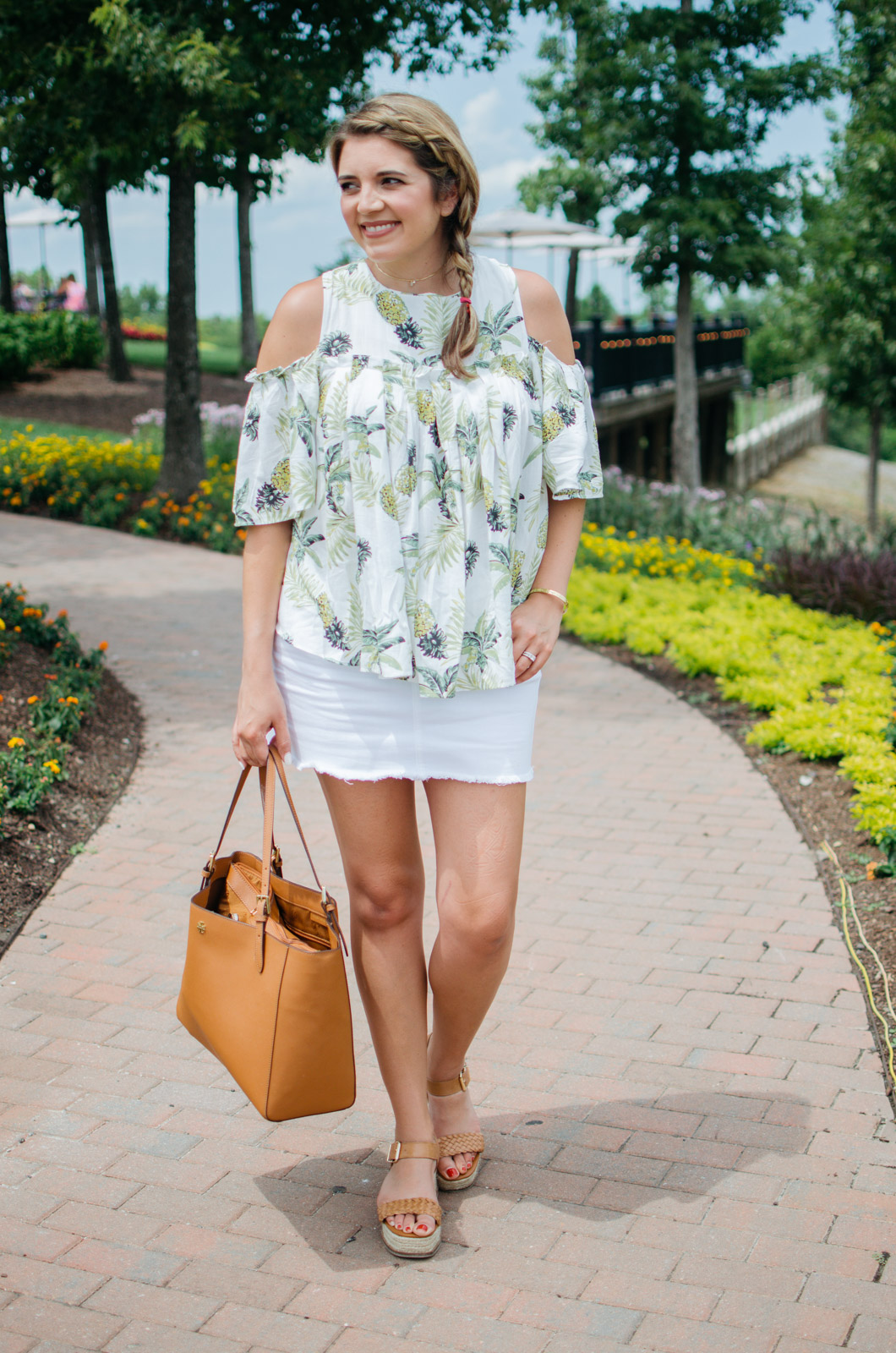 Summer outfit - denim mini skirt + pineapple top | For more of the best Summer outfit ideas, head to bylaurenm.com