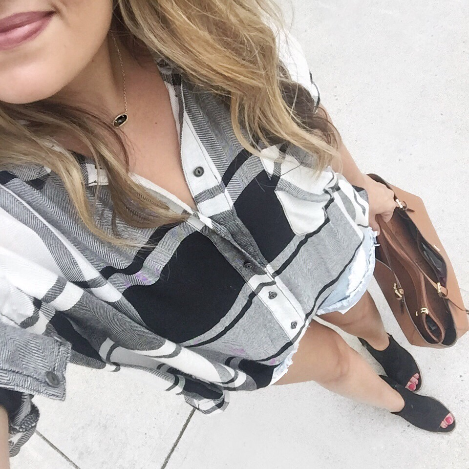 best instagram outfits july - plaid top with shorts and booties | bylaurenm.com