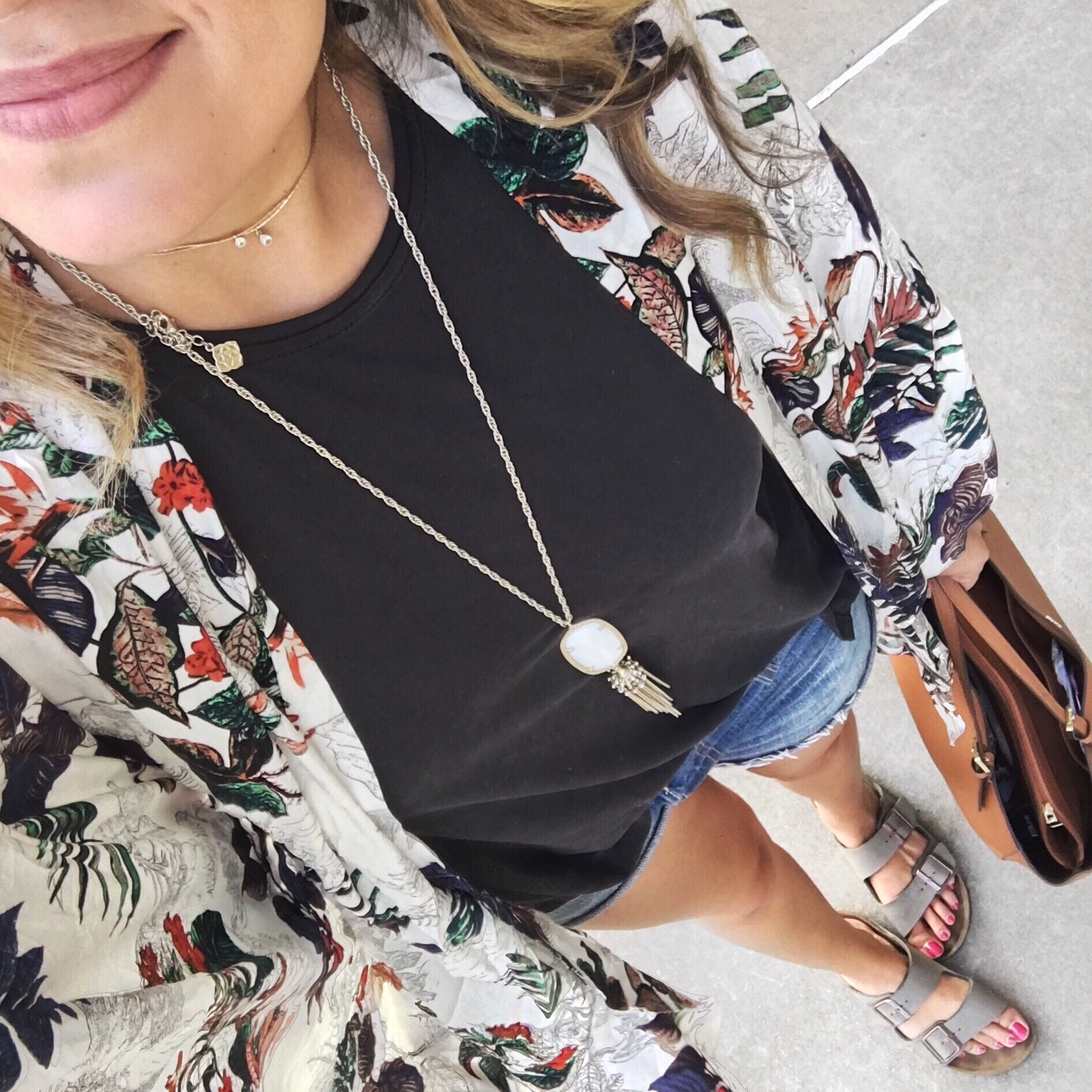 top instagram outfits for july - kimono with shorts | bylaurenm.com