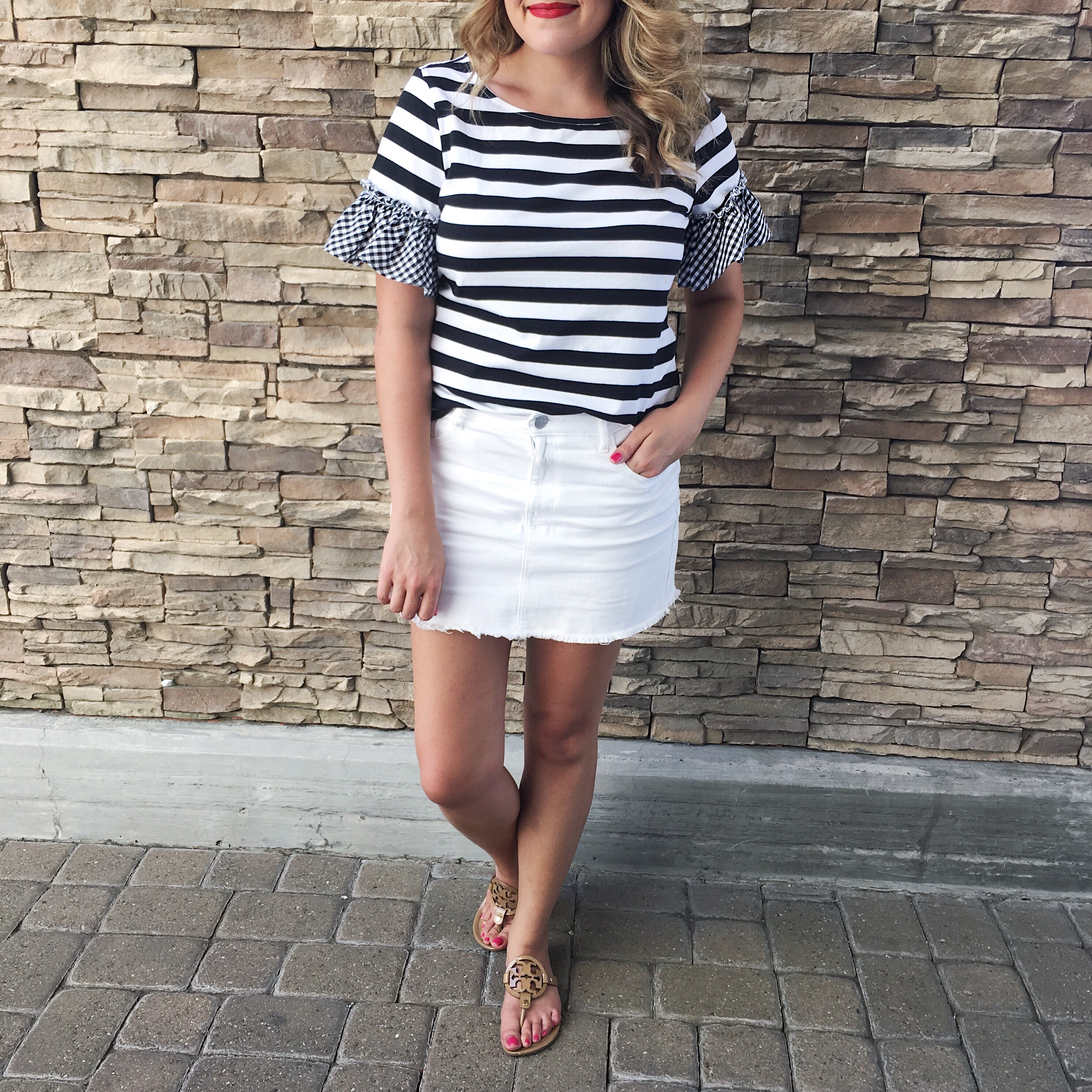 best instagram outfits july - white mini skirt and stripe tee | bylaurenm.com