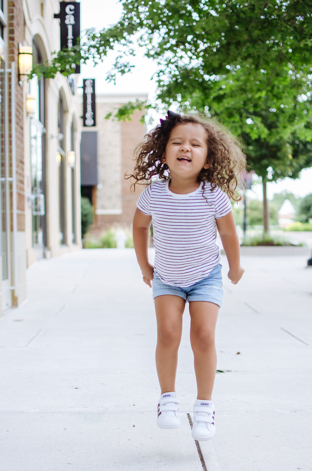 cute toddler outfit - stripes and sneakers | For more mother daughter outfits, head to bylaurenm.com!