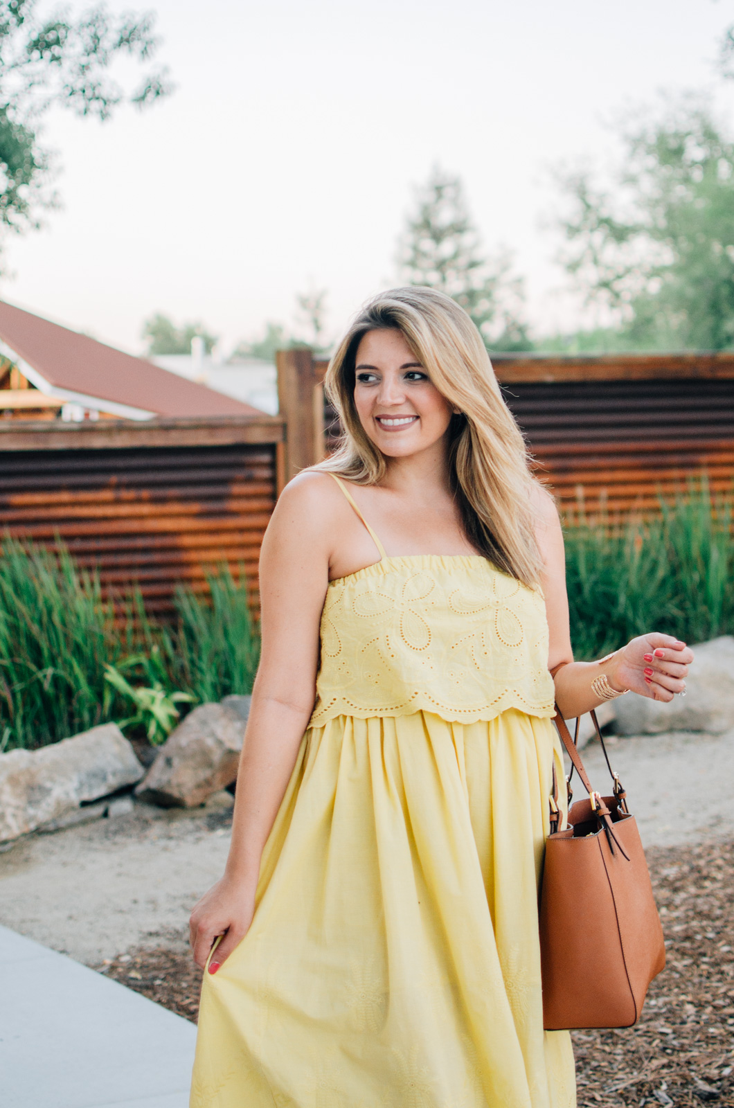 summer outfits sundress - yellow midi sundress | More Summer outfit ideas at bylaurenm.com