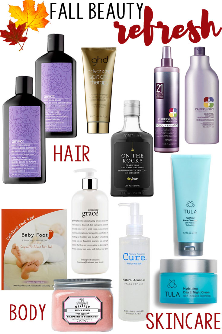 fall beauty refresh - all of the best hair, body, and skincare products to revitalize and refresh you after summer! Come see the full beauty product reviews on bylaurenm.com!