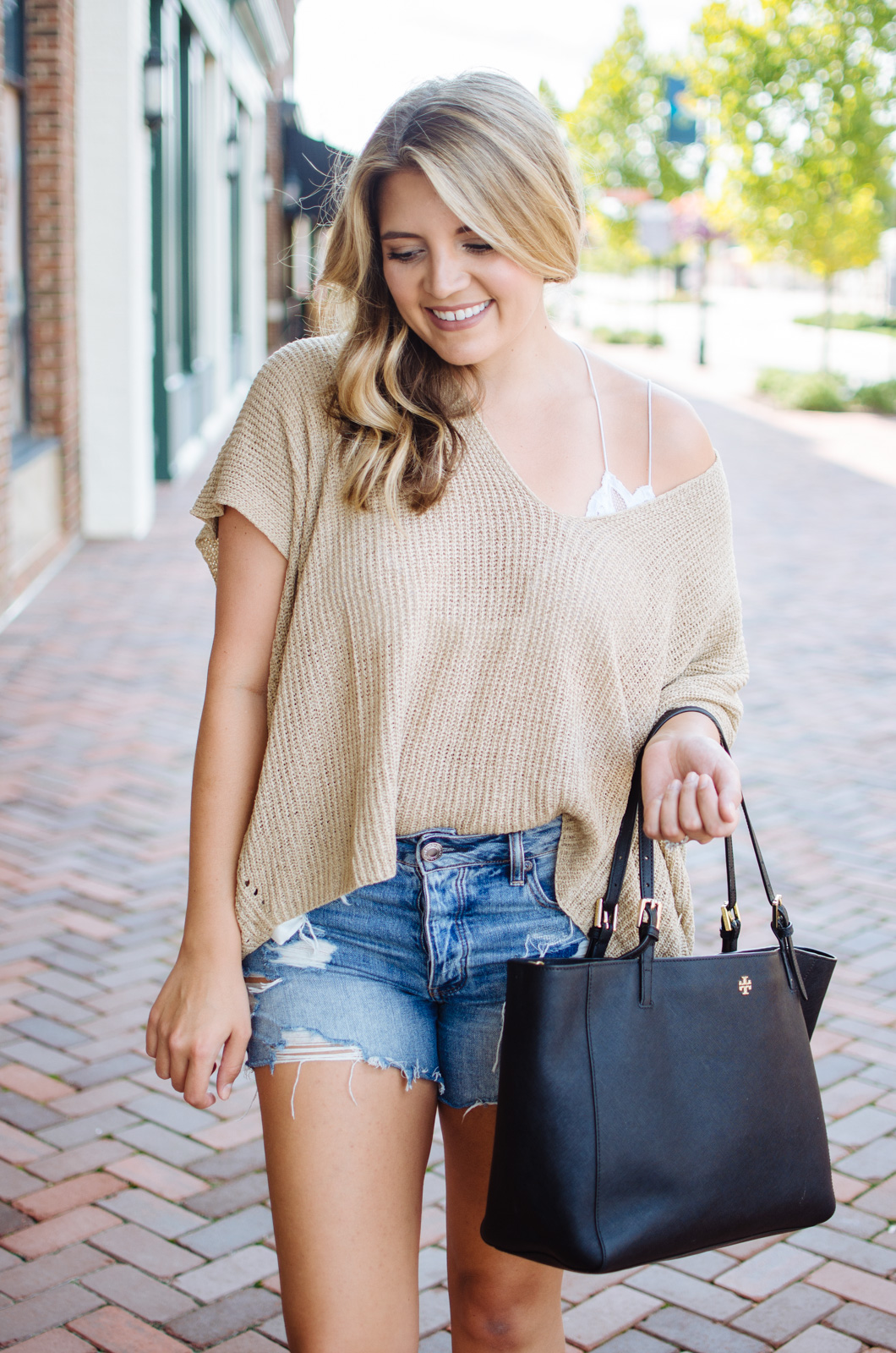 draped sweater and bralette outfit - short sleeved drapey sweater | For more fall transition outfits, go to bylaurenm.com!
