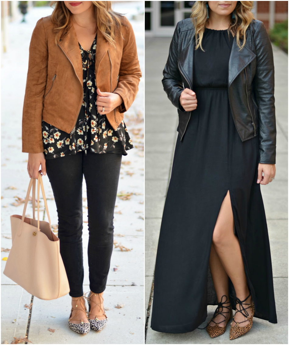 fall outfit ideas - moto jacket outfits | See all pieces you need for Fall and how to wear them! bylaurenm.com