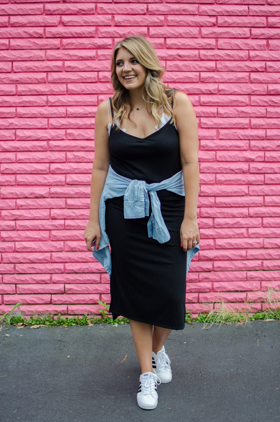 tank dress outfit - ways to wear a tank dress with sneakers | For more cute outfit ideas, go to bylaurenm.com!