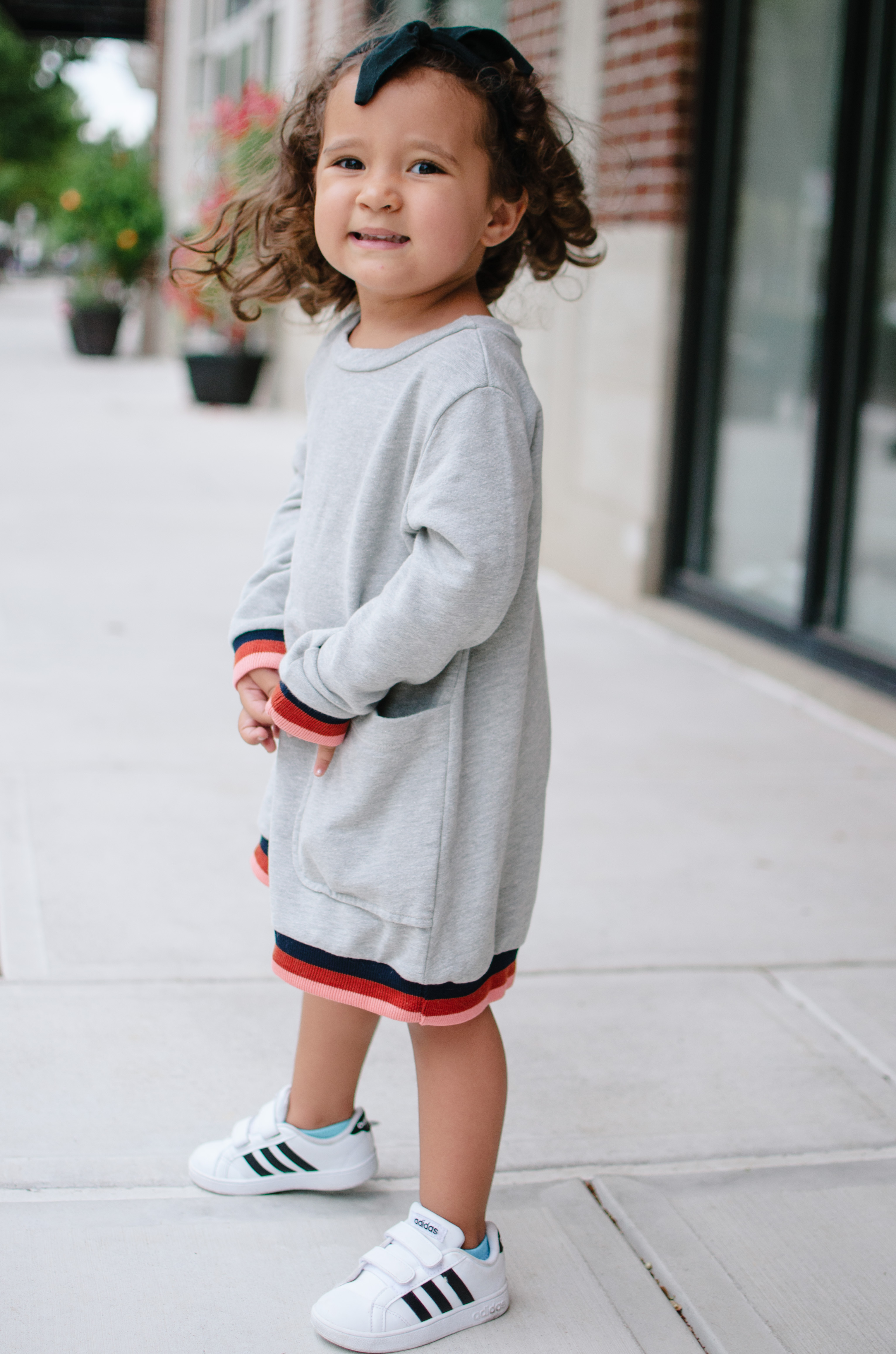 toddler girl fall outfit ideas - toddler sweatshirt dress | See more cute toddler outfits at bylaurenm.com!