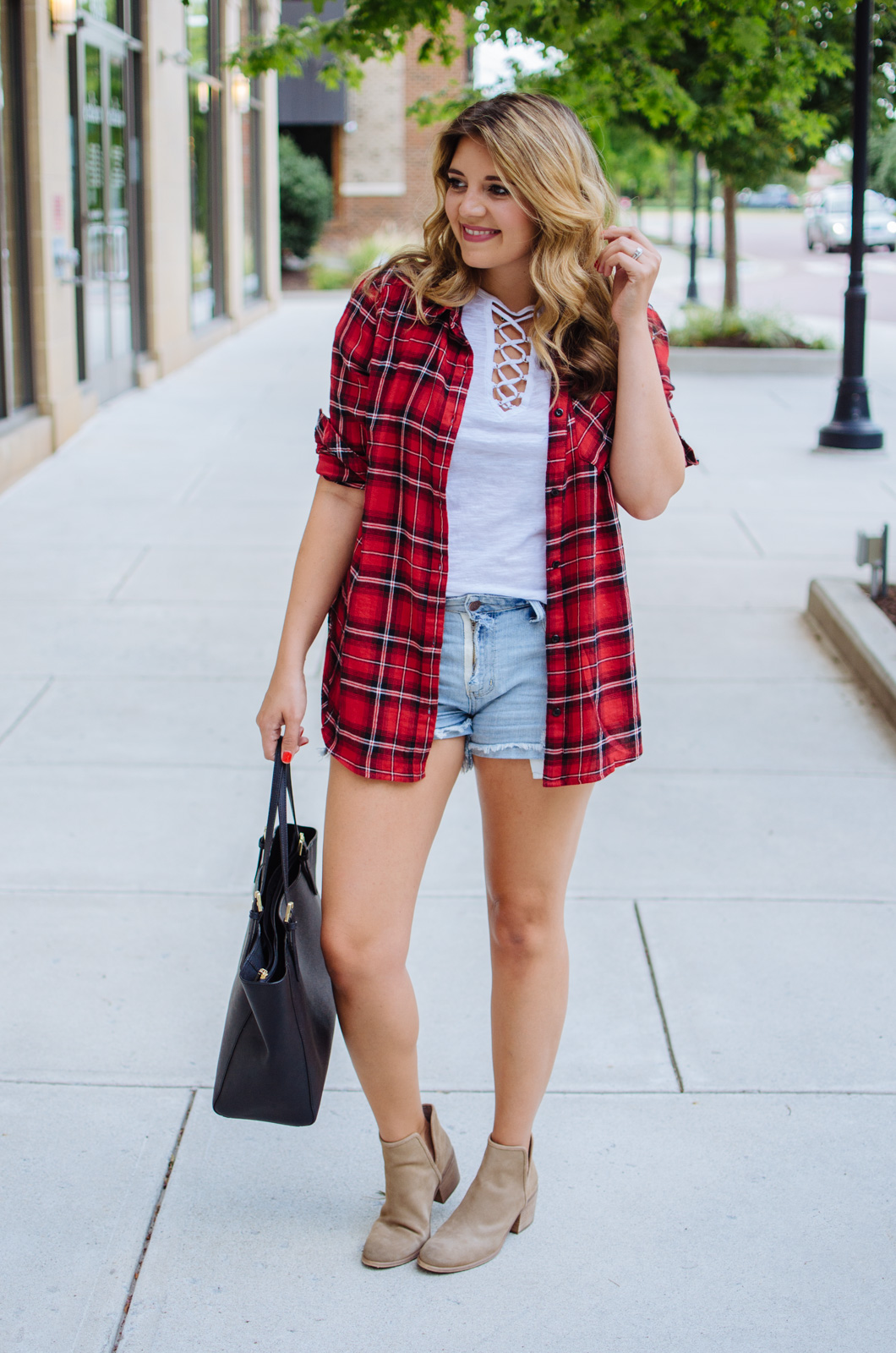 plaid top outfit - lace up tee and plaid top outfit | For more cute Fall outfit ideas, go to bylaurenm.com!