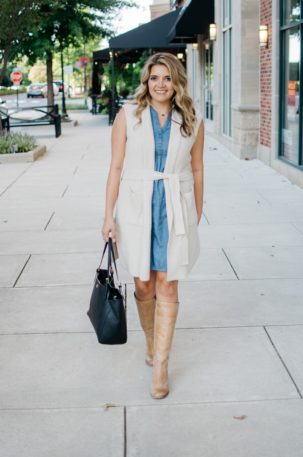 chambray dress with long sweater vest outfit | Want to know how to wear a sleeveless sweater? I'm sharing two outfit ideas in today's post! bylaurenm.com