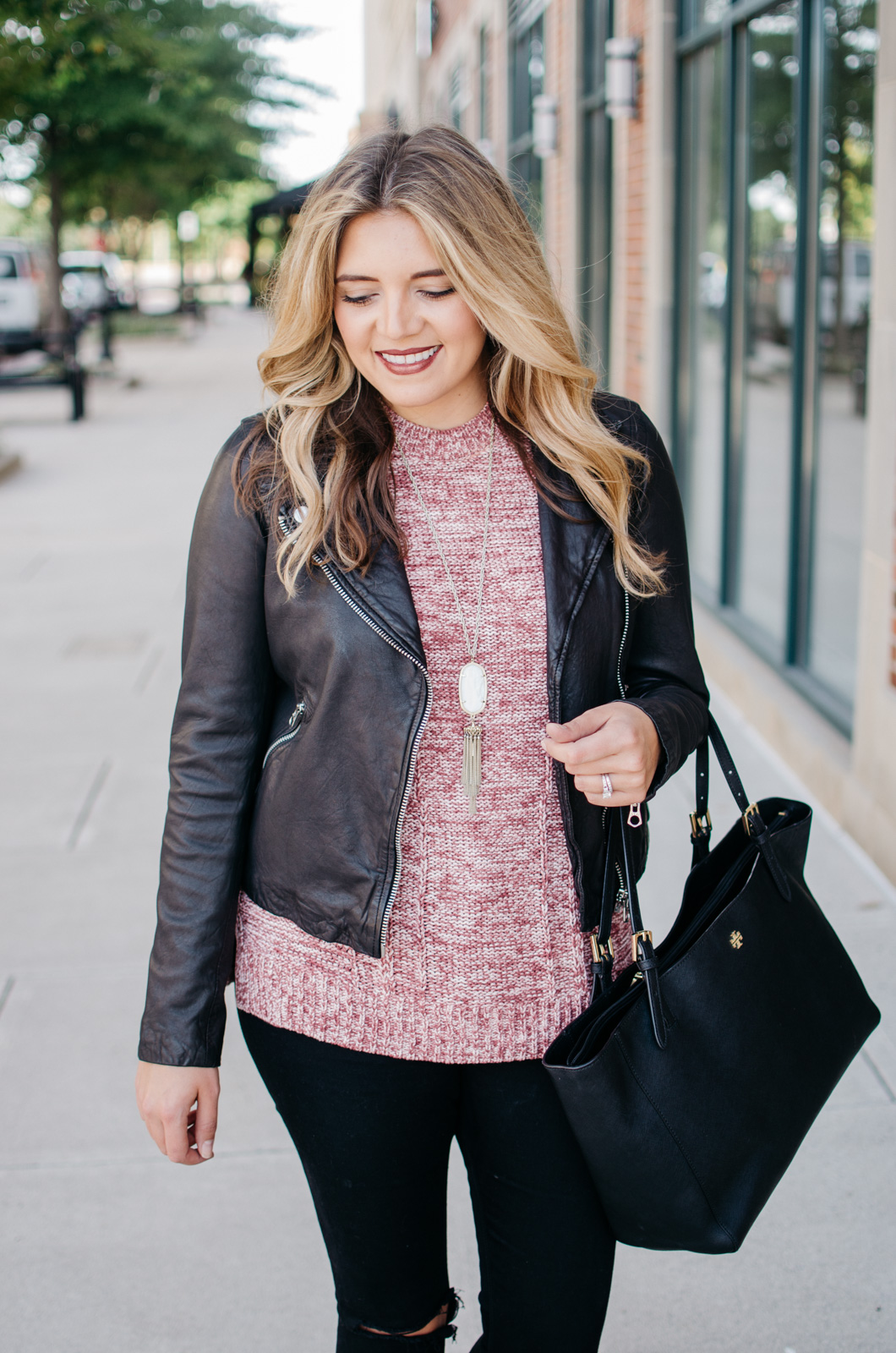sweater moto jacket outfit idea - how wear a sweater with a leather jacket | For more Fall outfit ideas, click through to bylaurenm.com!