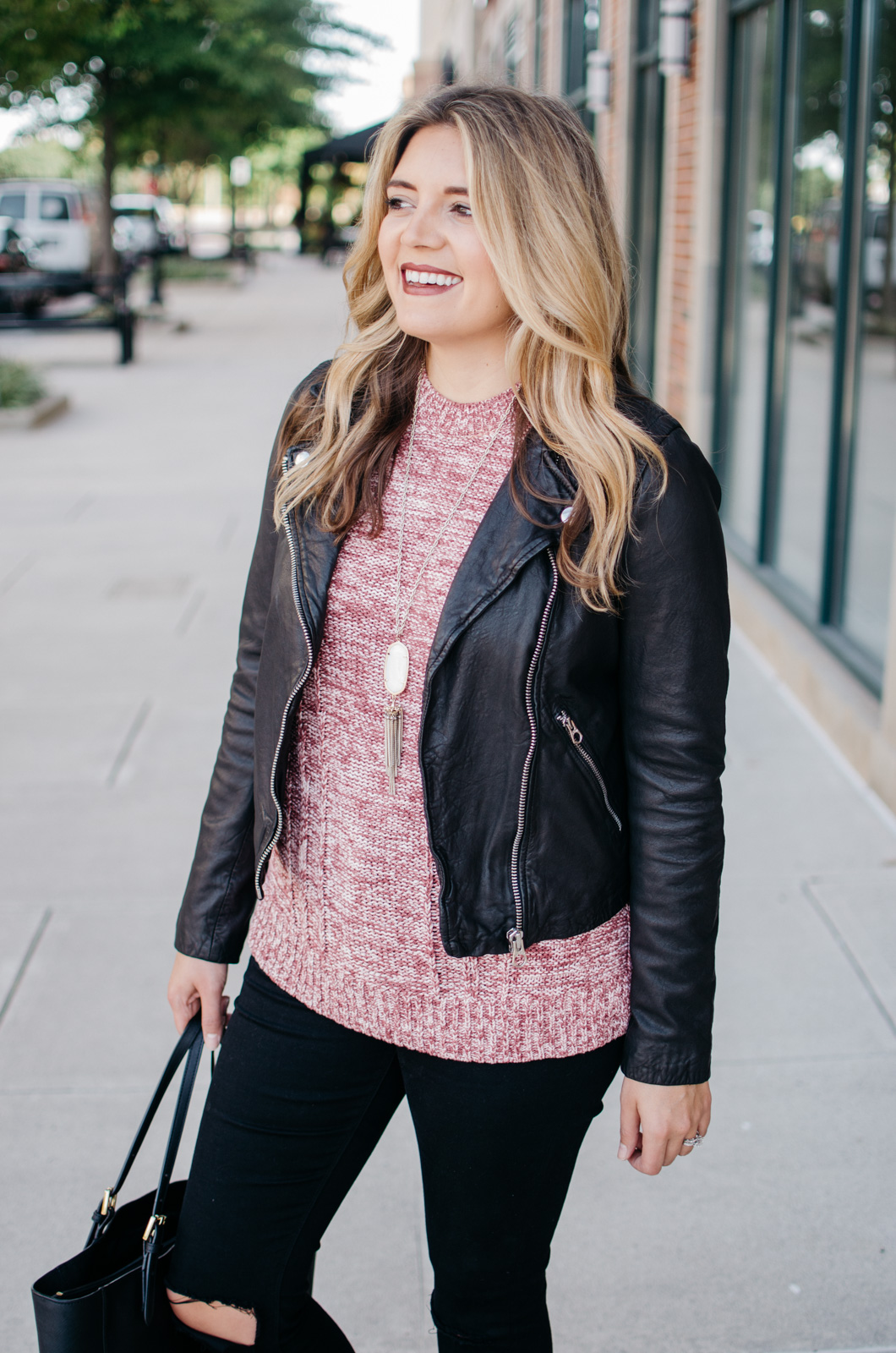 leather jacket sweater outfit idea - how wear a sleeveless turtleneck | For more Fall outfit ideas, click through to bylaurenm.com!